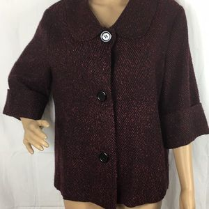 Courtesy maroon and black button up blazer